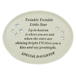 Special Daughter Baby Twinkle Little Star Memorial Grave Plaque Ornament