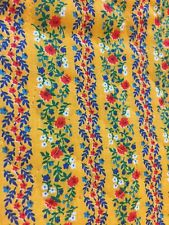 Vintage 1 Yard Yellow Floral Quilted Fabric