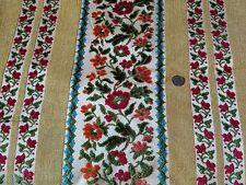 vintage bohemian 70's floral striped thick heavy velvet boho upholstery fabric