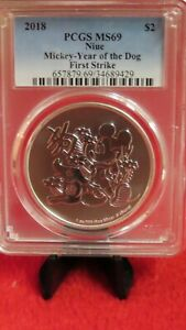 Disney 2018 Mickey Mouse Year of the Dog .999 1 Oz Silver coin Graded  PCGS PR69