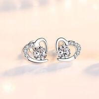 Crystal Pearl Bow Swirl Stud Earrings 925 Sterling Silver Womens Girls Jewellery