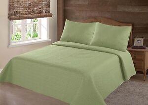 2/3PC SAGE NENA BED BEDSPREAD QUILT SET COVERLET STIPPLING STITCHE IN 4 SIZES
