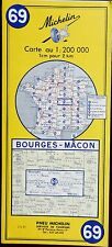 MICHELIN FRANCE 1970 COLOURED PAPER MAP of BOURGES-MACON No 69 1:200 000