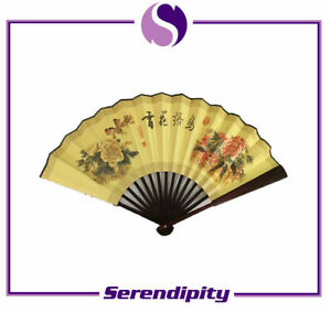 """Chinese Bamboo Folding Fan with Flowers and Birds for Wall Decor / Gift 13""""X23"""""""