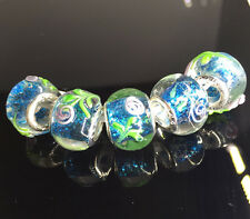 5pcs Silver MURANO GLASS BEAD LAMPWORK fit European Charm Bracelet  E~