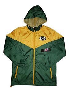 NWT Men's NFL Team Apparel Green Bay Packers Full Zip Hooded Windbreaker Medium