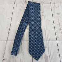 Canali Mens Tie Blue Brown Geometric 100% Silk