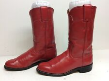 WOMENS JUSTIN COWBOY LEATHER RED BOOTS SIZE 5 B