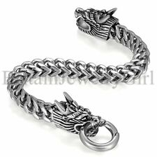 Biker Mens Bracelet 8 1/3 Inches with Locking Stainless Steel Dragon Head Clasp