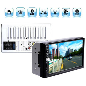 """7"""" Touch Screen 2 Din FM Radio Audio Stereo Car Video Player + Rear View Camera"""