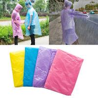 2PCS Disposable Adult Emergency Waterproof Rain Coat Poncho Hiking Hood Tool NEW
