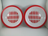 Coca-Cola Set of 2 Melamine 12 inch Party Serving Bowls Bottle Repeat Pattern