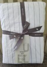 West Elm Washed Cotton Striped Sheet Set FULL Slate - New $119.00