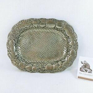 """Serving Platter Fruit Border Basketweave Bottom Cast Aluminum Footed 13"""" x 10"""""""
