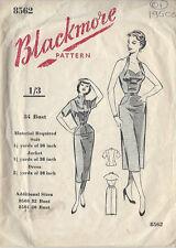 "1950s vintage Näh Muster B34 "" Kleid & Jacke (01)"
