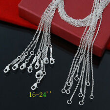 "10PCS ROUND LINK TRACE CHAINS 1MM 16""-24"" 925 SILVER NECKLACES FIT PENDANTS+Box"