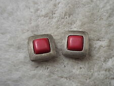 Silvertone Pink Cabochon Clip-on Earrings (A43)