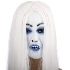 👻 Halloween Vampire Plein Visage Masque long cheveux blancs 👻 Robe Fantaisie Sinistre Horreur 👻