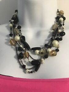 Lia Sophia Multi Strand Bead Necklace Faux Pearls Mother Of Pearl Glass Beads