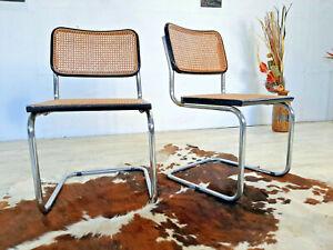 2 designer Stühle, Stahlrohr, Wiener Geflecht, Freischwinger