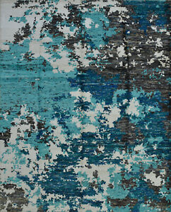 Modern Abstract Rug, 8'x10', Blue, Hand-Knotted Bamboo Silk Pile