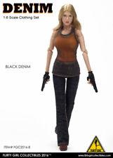 1:6 Flirty Girl's Action Figure Denim Fashion Clothing Set in Black #2016-8