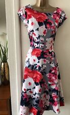 Monsoon Grey Floral Dress 8 Wedding Races Cruise