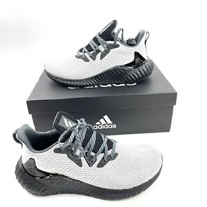 New Adidas Mens Alphaboost Shoes 9.5 Cloud White Core Black Grey Six