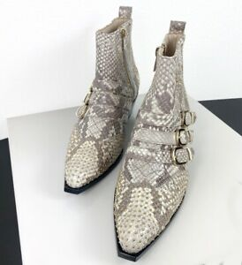 ANINE BING PENNY ANKLE BOOT IN SNAKE PRINTED LEATHER EFFECT SIZE 37 NEW