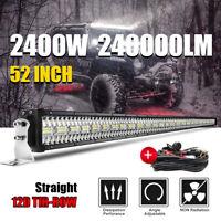 Tri-Row 52 '' 2400W Barre de travail à LED light bar pour bateau Jeep + et câble