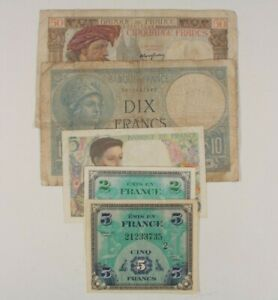 WW2 France 5-Notes Set 1940-1944 French Francs w/ Allied Military Currency