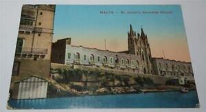 MALTA WW1 ERA St JULIAN'S CARMELITE CHURCH POSTCARD 1918     840