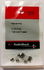 Fast-Acting 3.15-Amp 125-Volt Fuses #270-0144 By RadioShack NEW