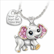 Rhinestone Cute Elephant Shape Pendant Women's Necklace Jewelry Gift for Girl