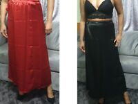 Women's Satin Underskirt Long/Short Dress Skirt Full Slip Black Petticoat Slip