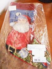 Sferra Needlepoint Christmas Stocking SANTA STOCKING Holiday  Wool - NEW!