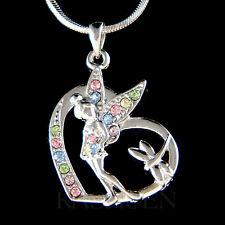 w Swarovski Crystal ~Rainbow Tinker Bell~ Tinkerbell Fairy Angel Heart Necklace