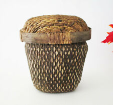 """Antique Chinese Hand Woven Willow & Wood Fish Basket with Lid 9"""" Tall"""