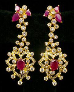 Cubic Zirconia Designer Ruby Stone Designer Chandelier Earring Set 22 RE 38
