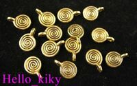 120pcs Antiqued gold plt spiral round charms A339