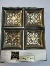 Mid Century Smoke Glass Craft Original Card Mates Gold Nut Ashtray Set