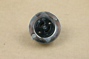 Hubbell Twist Lock 2 pin Circular Female AC Connector Vintage 10A 250V 5A 125V