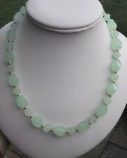 EASTER HAND MADE NECKLACE PALE GREEN QUARTZ HEART TOGGLE CLASP