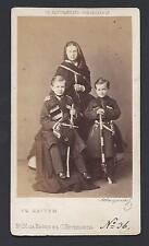 Tsar Alexander III Children in Cossack Uniform circa 1867 CDV Photo by Levitsky