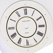 Round Clock Dial 3 3/4 DIA Hamilton Brass with White Enamel/Gold finish