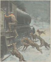 K0112 Prestane - Locomotiva - Fuochista - Branco di lupi - Stampa - 1931 print