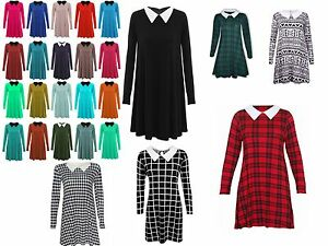 Ladies Womens Flared Long sleeve PETER PAN COLLAR SWING DRESS PLUS SIZE Lot B41