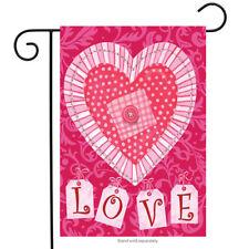 New listing Briarwood Lane Sleeved Garden Flag 12.5x18 Patchwork Heart Valentines Day Love