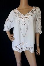 VINTAGE 90s EMBROIDERED SCALLOP LATTICE Hippie Boho Shirt BLOUSE TUNIC L WHITE