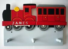 Hand Made Wooden Childrens Clothes Hooks TRAIN DESIGN Red / Can be personalised